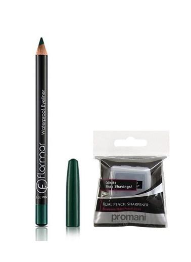 Flormar Flormar Waterproof Yeşil Eyeliner No:111+Promani 2 Delikli Kalemtıraş Renkli